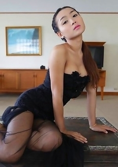 22 year old Thai shemale Samy teases tourist on camera in her black dress