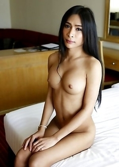 25yo busty Thai ladyboy Pang strips and sucks white cock and gets a facial